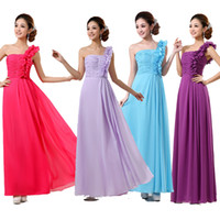 Reference Images Ruched Sleeveless bridesmaid wedding evening long foral party one shoulder ruched chiffon dress fuchsia blue purple