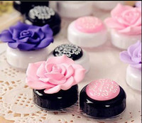 Wholesale Contact lenses box of candy color beautiful anna camellia lovely partner lenses box to receive a case