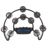 Wholesale Alice ATB001 Pro Music Hand Held Half Moon Tambourine with Double Row Metal Jingles Double Cutaway Handbell Rattles For KTV Bar Stage Party