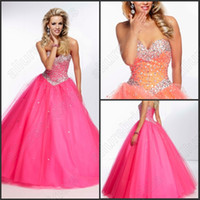 Wholesale Hot Sale Sweetheart Ball Gown Orange Fuchsia Prom Dress Rhinestone Party Dress Cheap prom Dress