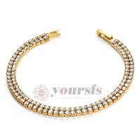 Wholesale Yoursfs Wedding Bracelets K Gold Plated Shinning Austria Crystal Dul Chain Bracelet Charm Gold Shamballa Bracelet