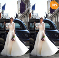 Ball Gown Reference Images Scoop Best Sexy See Through Scoop 3 4 Long Sleeves Ball Gown Covered Button Organza Lace Zuhair Murad Church Garden Wedding Dresses Bridal Gowns