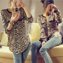 Wholesale New fashion Women Wild Leopard print chiffon blouse Long sleeved t shirt Top S M L loose plus size V neck blouse