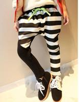 Wholesale 2013 new girls thick stripes printed harem pants boy pants