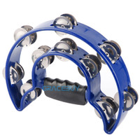 Wholesale Pro Half Moon Music Hand Held Tambourine with Double Row Metal Jingles Double Cutaway Handbell KTV Bar Stage Party Rattles ALICE BLUE