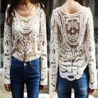 Wholesale Black white Dress Sweet Semi Sexy Sheer Long Sleeve Embroidery Floral Lace Crochet Tee Top T shirt Vintage S M L XL