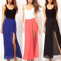 Work Mini Women DropShipping Sexy Womens Open Side Split Dress Summer Solid Chiffon Long Maxi dresses Boho S M L Free Shipping