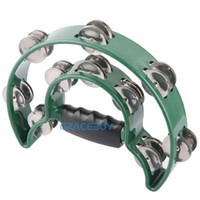 Wholesale Alice Green Half Moon Music Hand Held Double Ring Tambourine KTV Bar Stage Party Rattles Handbell with Double Row Metal Jingles Brand New