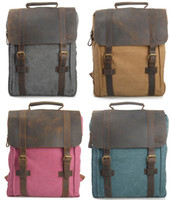 Wholesale European Style Men Women Retro Canvas Double Shoulder Student Schoolbag Laptop portable Backpack Bag
