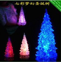Christmas Tree light ornaments - 7 Colors Changed LED Crystal Clear Christmas Tree Lamp Light Artificial Glow Ornament Decoration With Retail Package Hottest