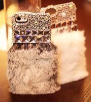 Plastic big apple diamonds - diamond soft rabbit fur case for iphone5 S Big diamond Flash New design for iphone S case pc