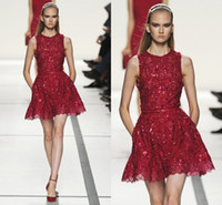 Reference Images Crew Lace 2014 elie saab!Sexy A-Line Crew Applique Beads Sequins Belt Short Red Lace Party Prom Dresses