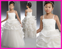 Wholesale 2014 New Arrival White Tiered Sequins Tulle Ball Gown First Communion Flower Girl Dress For Party F591