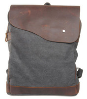 Wholesale Fashion Preppy Style Canvas Travel Backpack with Genuine Leather Double Shoulder Portable Bag