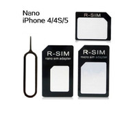 Wholesale 4 In Nano Micro SIM Adapter Eject Pin For Iphone For Iphone S With SIM Card Retail Box