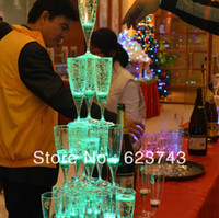 Wholesale Plastic Liquid active LED Champagne Glass Plastic LED Flash Champagne Glass LED Flash glass LED Glass Drink Cup Bars