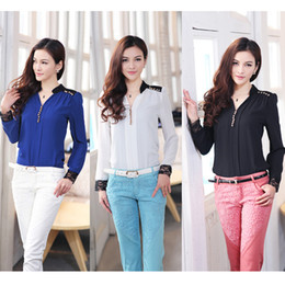 Wholesale Hot Sale Colors Womens Long Sleeve Stand Collar Stitching Lace Chiffon Top Shirt S M L XL