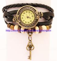 Wholesale 35pcs Love Key Pendant Leather Strap Watch for women Vintage Watches Quartz Casual watch bronze Ladies retro bracelet Dress watch