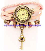 Wholesale Cheapest Variety Of Styles Women Leather Vintage Retro Watches Electroplating Ancient bronze KEY Pendant Bangles Watches colors
