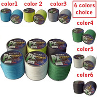 Wholesale PE DYNEEMA BRAID FISHING LINE Strands M lb SPECTRA Black dark green red yellow topwin