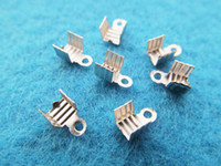 Alloy crimp cord end - 4mmx7mm Silver tone Ribbon Leather Cord Crimp End Caps Fastener Clasps Connector Crimp Beads