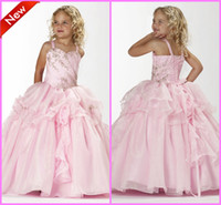 Wholesale Pretty Beadings Girls Pageant Dresses Princess Spaghetti Strap Ball Gown Floor Length Lace up Tulle Pink Flower Girls Dresses
