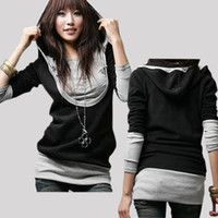 Cotton women's T-shirts - New Women Long Sleeve Brand With Hat Cotton Tops Dress shirt Hoodies Women s Full T shirt Hoodie Zise M L XL Drop Shipping