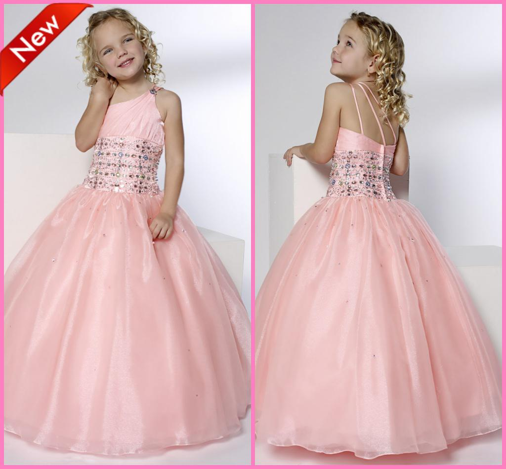 Pretty Beadings Pink Girls Pageant Dresses Princess e