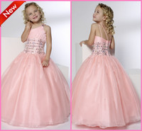 robe de mariée en une tulipe rose achat en gros de-Pretty Beadings Pink Girls Pageant Robes Princesse à une épaule Robe de bal à pied de sol Tulle Kids Wedding Prom Robes formelles