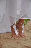 Wholesale Beach wedding White Crochet wedding Barefoot Sandals Nude shoes Foot jewelry Bridal Victorian Lace Sexy Yoga Anklet