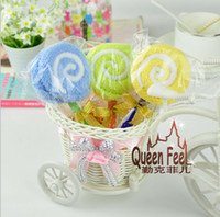 towel cake favors - 2015 New Fashion Lollipops cake towel cm cotton towel Party Favors Wedding birthday gift Christmas gift