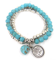 Wholesale semi precious stone Fashion women antique silver beads Skull bracelet