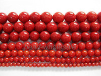 Wholesale Natural Red Sea Coral Gemstone Round Spacer Beads For Necklace Bracelet making mm