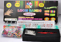 Wholesale 16 fast express Rainbow loom Kit For KIds DIY hook clips mix colored rubber bands