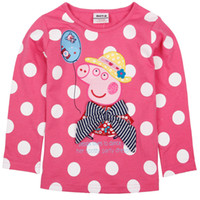 Girl Spring / Autumn  Nova 18m-6y kids autumn wear Peppa pig Embroidery girls cute tops pink T-shirt polka dots long sleeve 100% Cotton tees w bow girl clothes