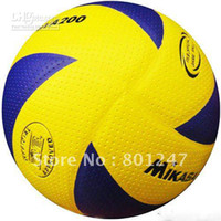 Footballs Yes 200 Wholesale - free shipping Mikasa Volleyball PU Soft Touch Offical Size -NEW MVA200, 8panels volleyball