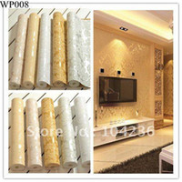 Wholesale Promotion USD Meter European StyleArt Deco Flocking Classical Damask Wallpaper Dropshipping