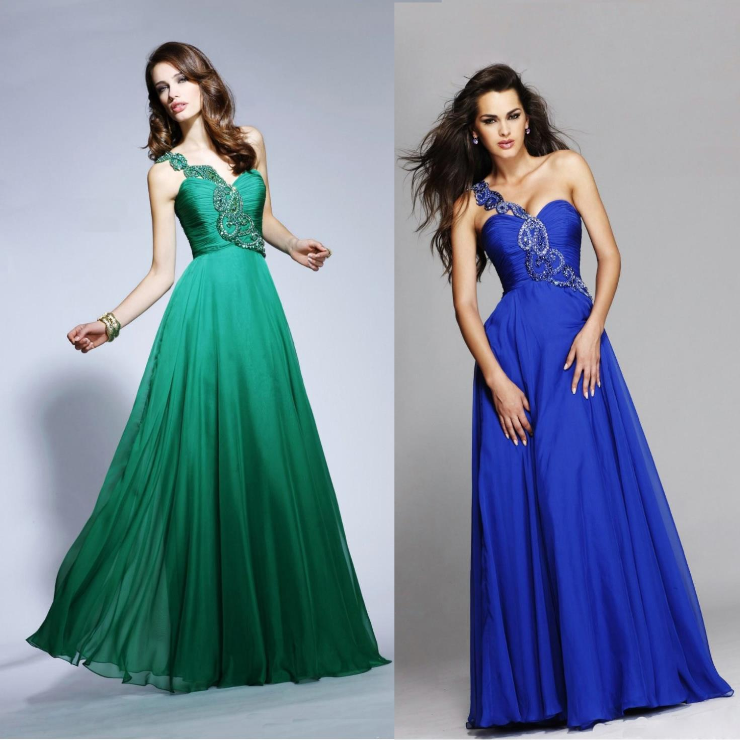 2014 Fantasy One Shoulder Sweetheart Neckline Emerald Green Prom ...