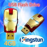 Wholesale Flawless Avengers Iron Man LED Flash GB USB Flash Memory Drive Stick Pen ThumbCar usb flash drive