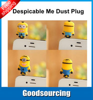Wholesale 3 mm Cute Cartoon Despicable me Anti dust Earphone Dust Jack Plug Anti Dust Earphone Plug For Iphone amp Ipad amp Samsung amp HTC W Retail box