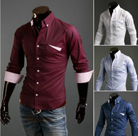 Men Silk  NEW Men's casual Slim Long Sleeve Shirts Men's Unique pocket shirt Dress Shirts For Men Business Shirts 9025