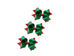 "4"" Christmas Layerspike Green and Red Hair Bow clip girl 24pcs"