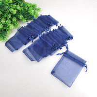 Wholesale x12cm Dark Blue Sheer Organza Wedding Favour Gift Bag Jewelry Gift Pouch Bags