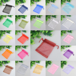 Wholesale Sheer Jewelry Pouches - Wholesale Organza Bag MORE COLORS Grass green Sheer Organza Wedding Favour Gift Bag Jewelry Gift Pouch Bags 100PCS 9x12cm