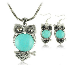 Fashion vintage turquoise jewelry sets Owl Earrings Necklace Set owl sweater long necklace dangle chandelier pendant earring charm jewelry