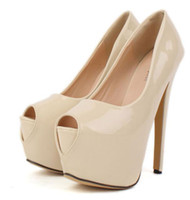 Wholesale Women s Basic Platform Nude Pumps Patent PU Leather cm High Stiletto Heel Wedding Shoes Size to ePacket