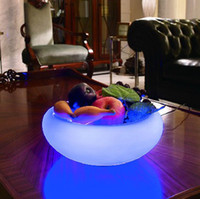 Wholesale LED Fruit Tray with LED light Fruit bowl LED colorful plastic disco tableware bowl drop ship Fruit plate for Bar Party or home Decorations