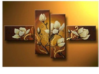 Wholesale White flowers HUGE WALL DECORATE CANVAS ART OIL PAINTING