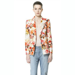 Wholesale HOT Brand New Women s Spring Casual Fashion Flower Printed Blazers Women Suit Jacket Long Sleeved Women s Jacket HTXXZ