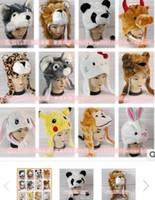 Wholesale Cartoon Animal Hat Long Fluffy Plush Winter Cap Mask Scarf Hood D Earmuff Headgear Dance Party Beanie Hats Caps props Fur Costume Halloween